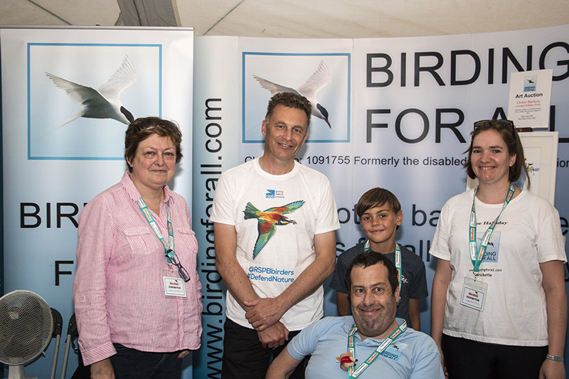Chris Packham meeting the team at Birdfair 2015 (Left to right - Ann, Chris Packham, Phil, Toby, Zoe)